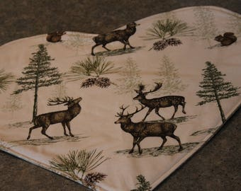 Beige Deer Pines Squirrels Heart Shaped  18 X 16  Table Runner Topper