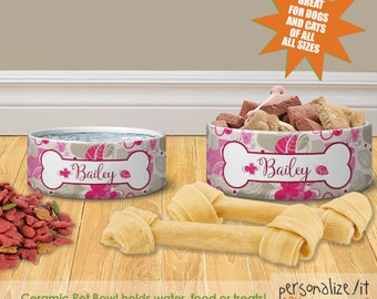 Pink Floral Personalized Dog Cat Ceramic Pet Food Bowl Custom Cat Bowl Dog Bowl Pet Bowl Pet Placemat Set Dog Cat Lover Gift Feeding Bowl