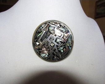 Vintage Brooch,  Sterling Silver Brooch, Abalone, Pendant, Collectible Jewelry