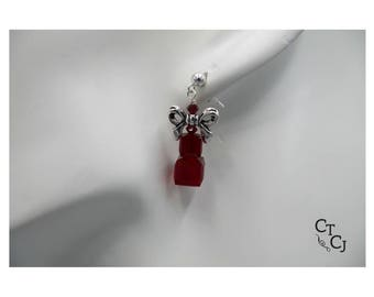 Swarovski red crystal cubes and pewter bows - Sterling silver