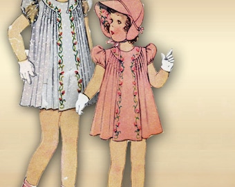 1930s Girls Dress Heirloom Pattern with Chin Tie Brim Bonnet Rosebud Embroidery Release Pin Tucks Puff Sleeves Size 2 Girls  McCall 548