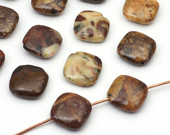 15 pcs diagonally drilled flat square conglomerate jasper beads, brown patterned semiprecious stone 12mm