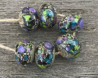 Silverreactions - 6 handmade lampwork beads (35)