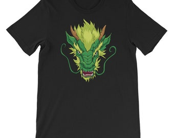 Chinese Dragon Head Green Short-Sleeve Unisex T-Shirt: face, chinese, asian, beast, monster, symbol, national, power, illustration, mascot