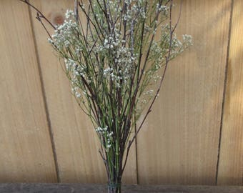 Twig and Baby's Breath Table Bouquet, Weddidng Centerpiece Bouquet - Open Twig & Flower Bouquet - Birch and Baby's Breath
