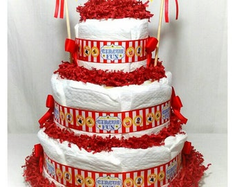 Welcome to the Circus Diaper Cake| Circus Baby Shower| Circus Baby Shower Diaper Cakes| Circus Baby Shower Centerpieces| Circus Baby Gifts