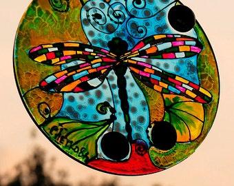 suncatcher, vitrage, glass art, handmade, Dragonfly, reflective glass, painting glass