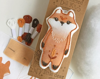 Red Fox DIY Hand Embroidered Doll sewing Kit Sampler art embroidery pattern designs