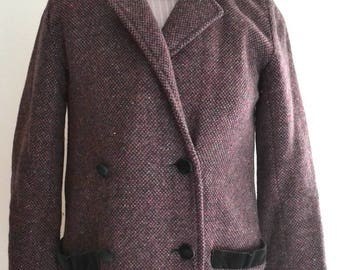 SALE Was 30 NOW 20 Vintage purple wool long length maxi  coat Small
