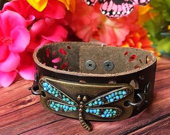 Dragonfly leather bracelet//leather bracelet//cuff bracelet//beaded bracelet//gypsy bracelet//boho bracelet//wrap bracelet//gypsy bracelet