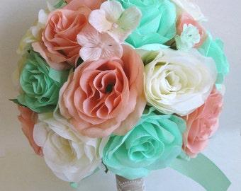 Wedding silk flowers bouquet bridal lavender mint green cream wedding bouquets silk flowers bouquet bridal mint peach cream 17 piece package bride silk flower centerpiece mightylinksfo Images
