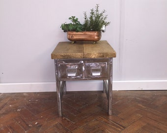 STIARNA - Vintage Industrial Chic Reclaimed steel, metal 2 Drawer Mini Cabinet w/ Reclaimed Wood Top.  Custom Made To Order.
