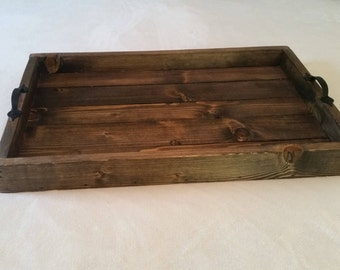 Large Wooden Tray with Rustic Handles