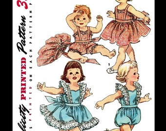 PLAYSUIT Ruffled Romper Sewing Pattern SIMPLICITY # 1669 Kids Child Girls Beach Sunsuit Play Suit *REPRODUCTION* / Copy Size -1/2-6mths