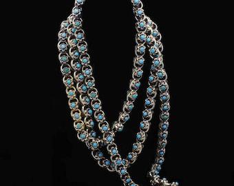 Antique Victorian Necklace Sautoir Muff Chain Gold Turquoise c1840-60 (6354)