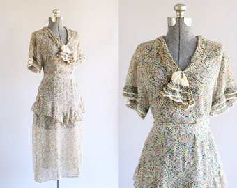 Antique 1930s Dress / Vintage 30s Dress / Soft Floral Dress w/ Ruffle Trim and Original Waist Tie M/L