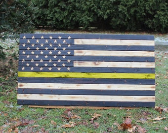 Wooden Thin Yellow Line American Flag