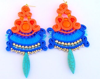 Soutache earrings boho jewelry beads chandelier earrings bead beads handmade jewelry