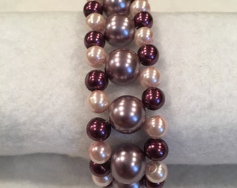 Mauve and Burgundy Pearl Bracelet