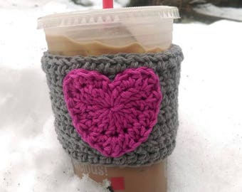 Heart Coffee Cozy/ Coffee Cozy/ Crochet Coffee Cozy/ Tea Cozy/ Heart Coffee Sleeve/ Iced Coffee Sleeve/ Iced Coffee Cozy/ Custom