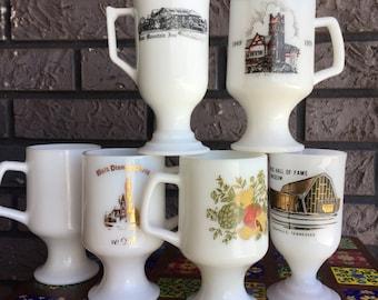 Set of SIX Milkglass Footed Pedestal Mugs Disney Highschool Nashville