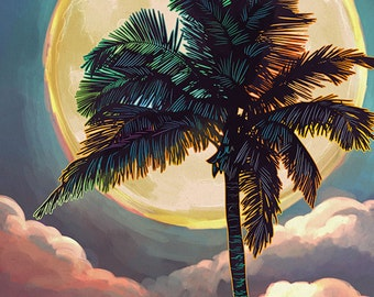 Siesta Key, Florida - Palm and Moon (Art Prints available in multiple sizes)