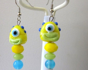 Monster Earrings Lampwork Yellow