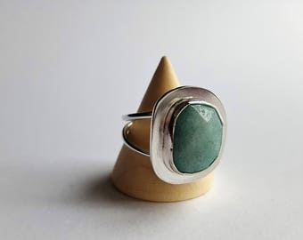 Aventurine Focused Silver Ring