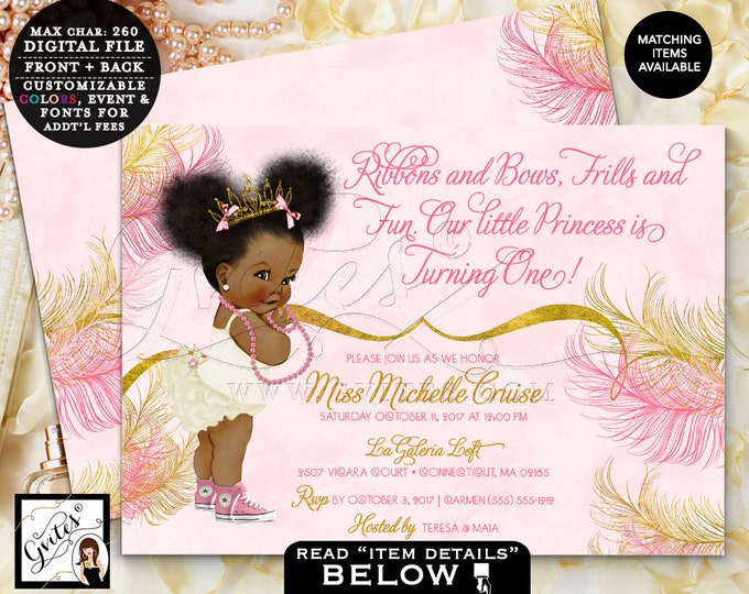 "Pink and Gold First Birthday Invitations, Princess Birthday African American Baby Girl Vintage, Afro Puffs Tiara tutus pearls 7x5"" Gvites"