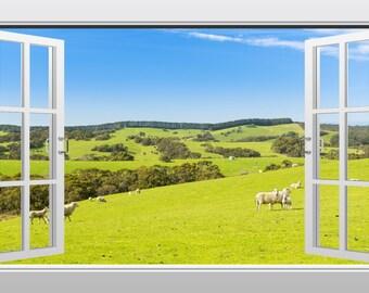 Sheep in a meadow 3D Windowscape Wall Art Mural Sticker- VPRNT1036