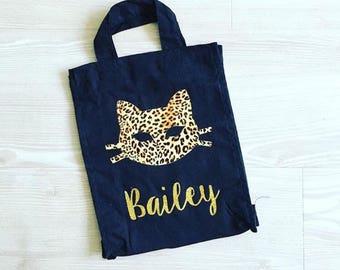 Children's Personalised Leopard Print Cat Halloween Trick or Treat Bag