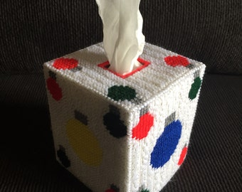Christmas Ornaments Plastic Canvas Tissue Box Cover - Holiday - Holiday Decor - tbc - Hand-Stitched