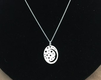 Crescent Moon And Star  Necklace- Moon And Star Pendant- Handmade Jewelry in U.S.A- 925 Sterling Silver-Celestial Necklace.