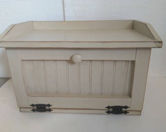 Primitive Country Shabby Chic Wood Bread Box Storage Cubby With Shelf Bath Toilet Cabinet