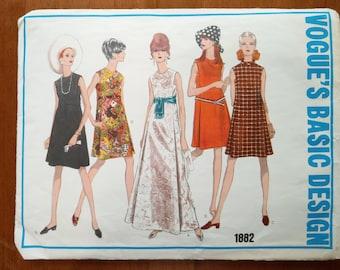 Vintage 1960s sewing pattern: Vogue 1882 (Size 14)