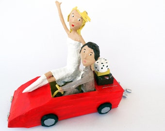 paper mache,wedding gift,free shipping,wedding sculpture,romantic,red,car,brown,white,yellow,art,bride,groom,wedding personalized sculpture.