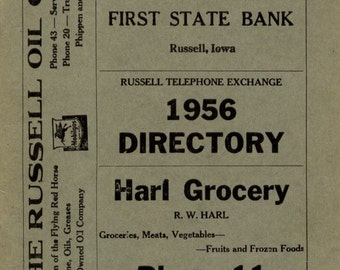 Russell Iowa Old Telephone Book Directory 1956 MINT