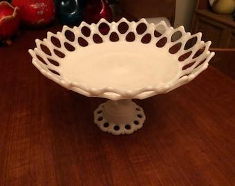 Vintage 1950s Westmoreland Doric Lace Lattice Milk Glass Pedestal Compote / Fruit Bowl