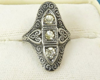Art Deco Ring Sterling Silver Rhinestone Ring Size 5