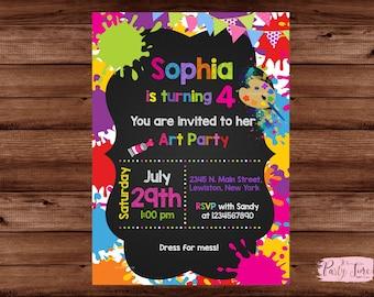 Art Party Invitation, Art Birthday Invitation, Art Party Invite, Paint Party Invite, Paint Party Invitations, Paint Birthday. DIGITAL FILE