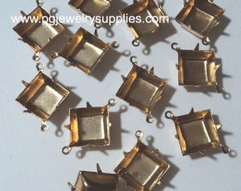 12mm square brass prong connector settings CB 2R (12 pieces)