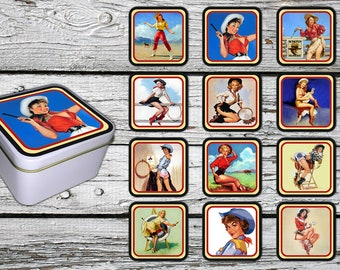 Cowgirl Pin-up Style on 12 Fridge Magnets - with a  gift box.  FREE SHIPPING