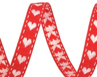 "3 Yards Czech Republic Heart Jacquard Cotton Trim 3/8"" Wide Folk Costume Ribbon Red White CFT-G"