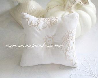 Vintage Linen, Handmade Small Stuffed Pillow, Home Decor, Housewarming Gift Inspiration, Gifts for Her