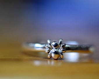 Tiny Spider Ring, Dainty Sterling Silver Spider Ring, Personalized Above Knuckle Midi Ring, Custom Engraved Insect & Arachnid Stack Jewelry