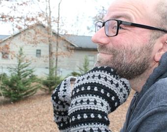 Fingerless gloves, Men crochet gloves, texting gloves, valentines day gift, arm warmer, winter gloves, gray black gloves, driving gloves