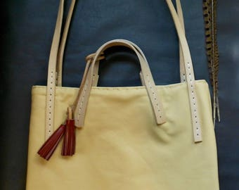 Natural Soft Leather Bag + Vegetable Tanned Leather Straps with Red Tassel