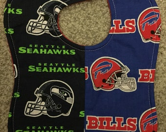 Buffalo Bills / Seattle Seahawks House Divided Rival NFL Football Baby Bib