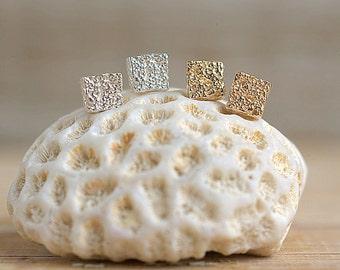 Square Coral Earrings | 14k Gold Earrings