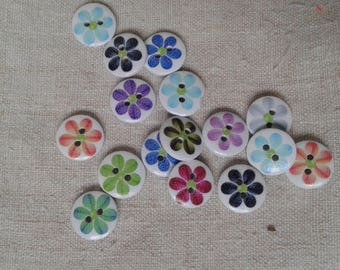set of 8 buttons wooden multicoloured floral patterns